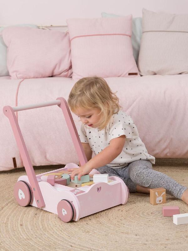 Antemergător lemn cu cuburi roz