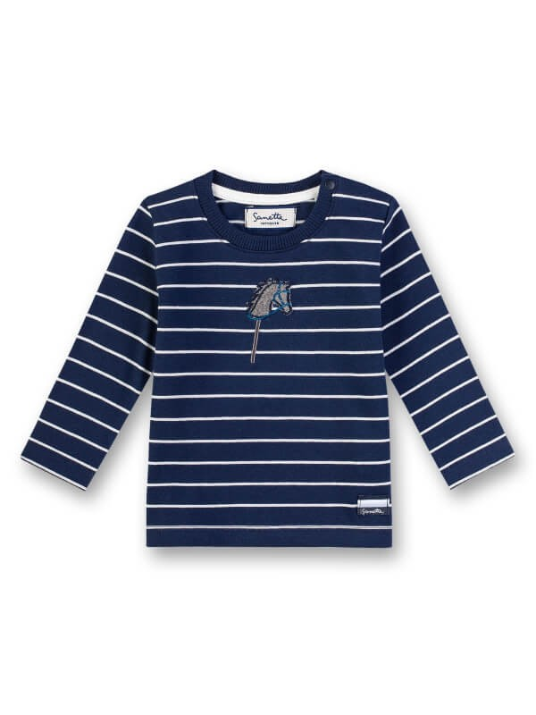 Bluză bebeluşi, cu imprimeu cu dungi şi căluţ