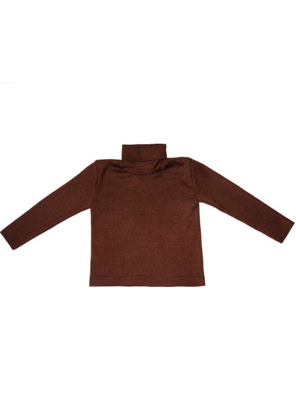 Bluză guler înalt lână şi mătase, maro