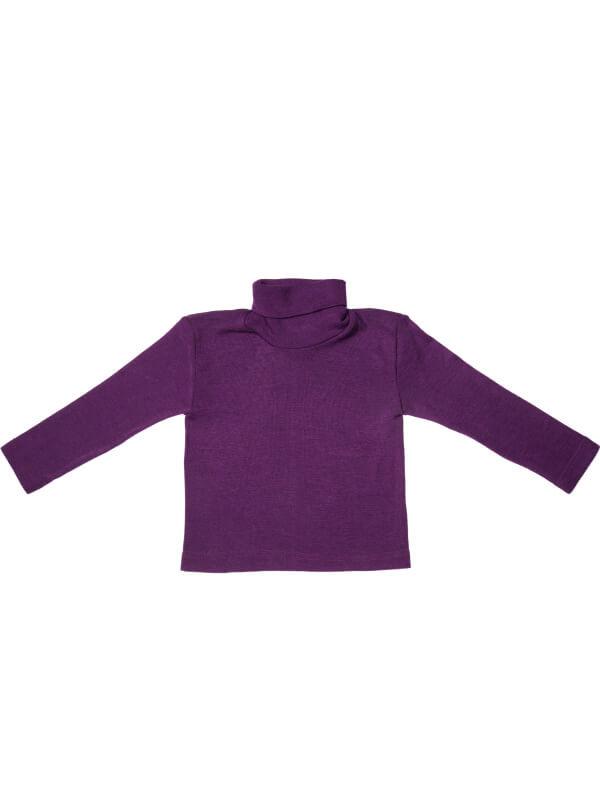 Bluză guler înalt lână şi mătase, mov