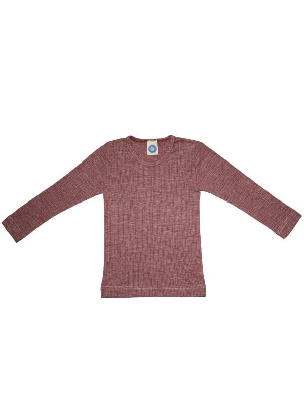 Bluză mânecă lungă bumbac organic, lână şi mătase, roz