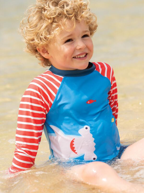 Bluză plajă cu protecţie solară UPF 50+ Shark