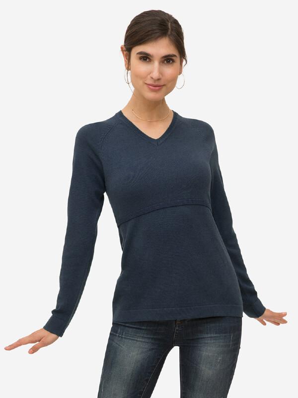Bluză sarcină şi alăptare Lulu bleumarin, amestec lână