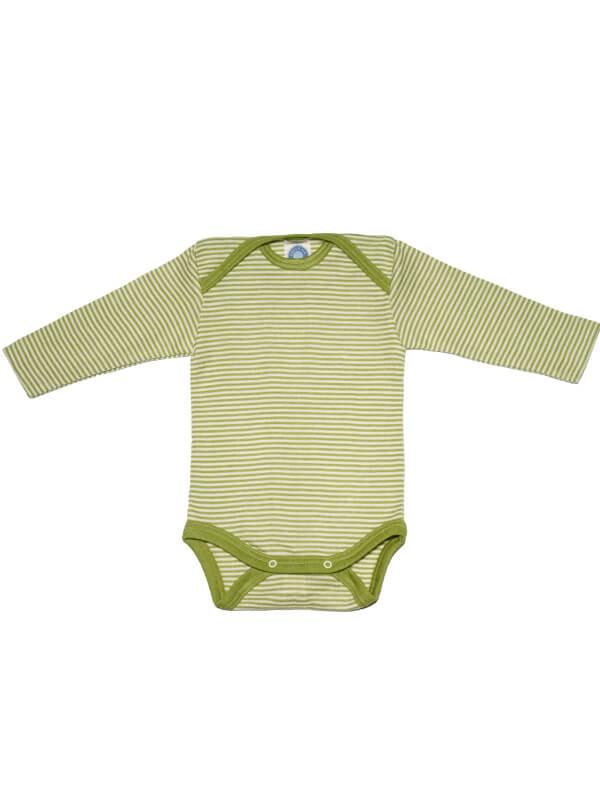 Body mânecă lungă, lână şi mătase, dungi verzi