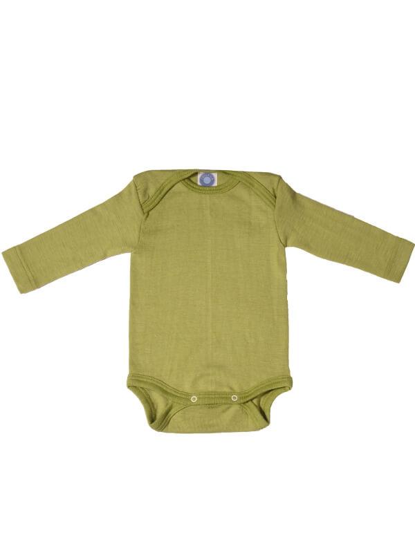 Body mânecă lungă, lână şi mătase, verde