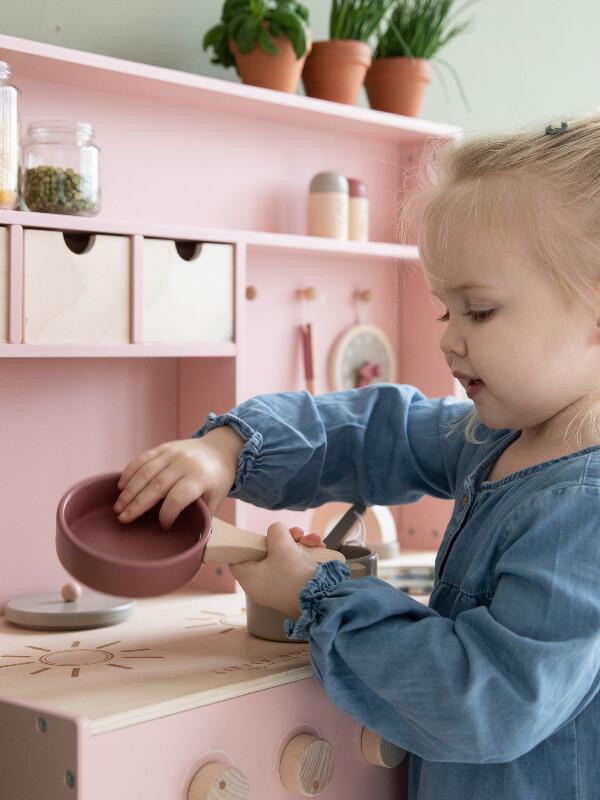 Bucătărie jucărie din lemn, roz