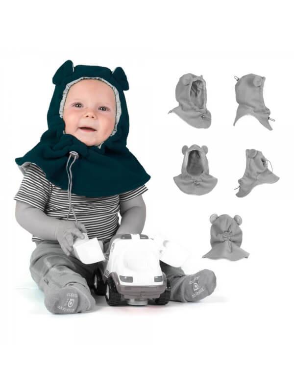 Cagulă din fleece pentru bebe Petrol Grey