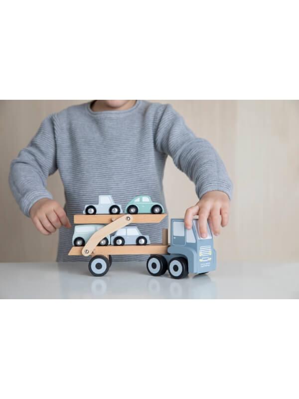 Camion cu platformă şi maşinuţe lemn