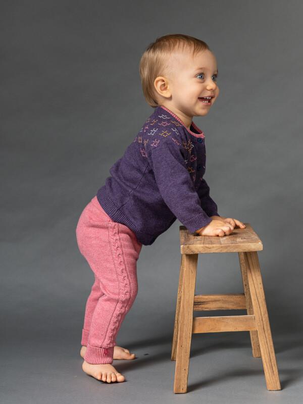 Cardigan tricotat bebe Janu mov