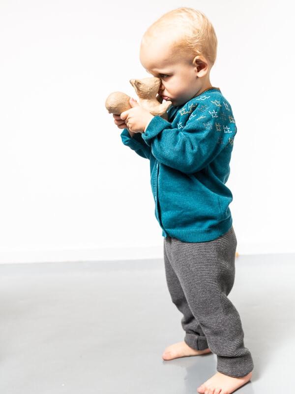 Cardigan tricotat bebe Janu Petrol Blue