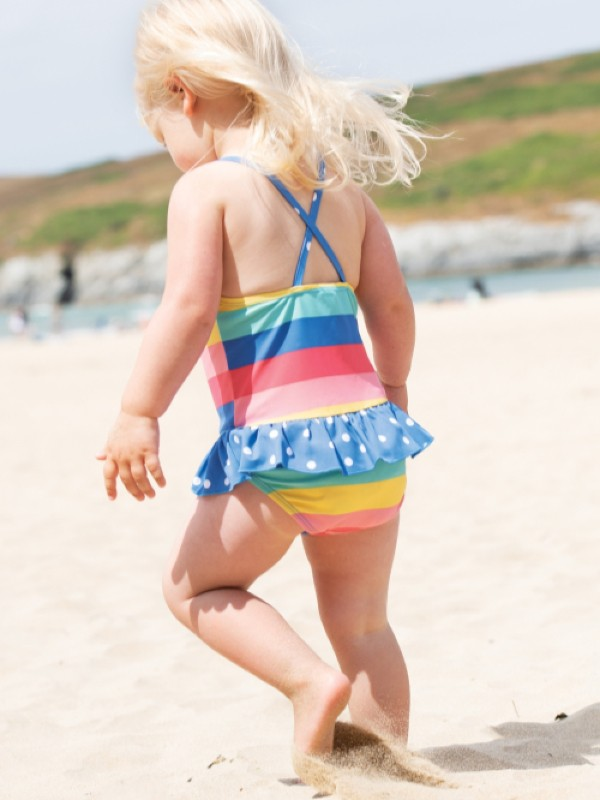 Costum de baie bebe UPF 50+ Bright Rainbow Stripe