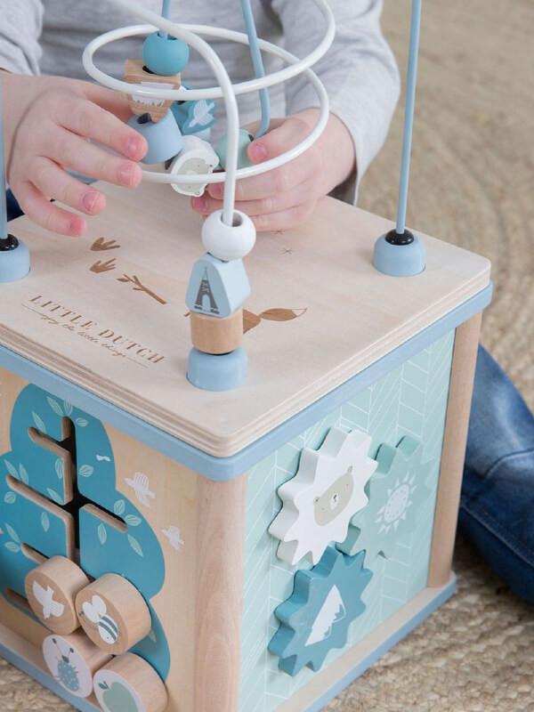 Cub din lemn pentru activităţi, albastru
