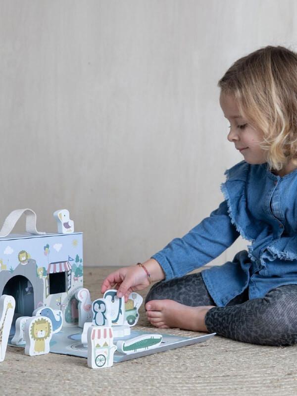 Cutie portabilă cu jucării lemn Zoo