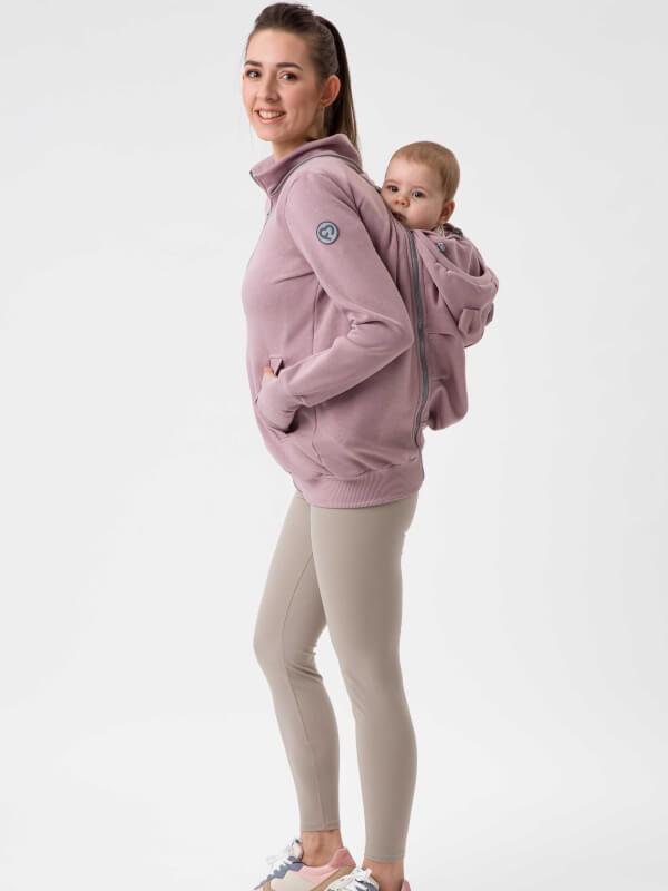 Hanorac 4în1 pentru sarcină şi Babywearing Pola Dusty Rose