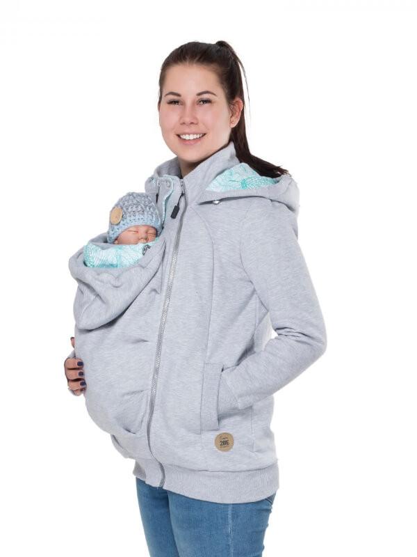 Hanorac 3în1 pentru sarcină şi Babywearing Pola Gray