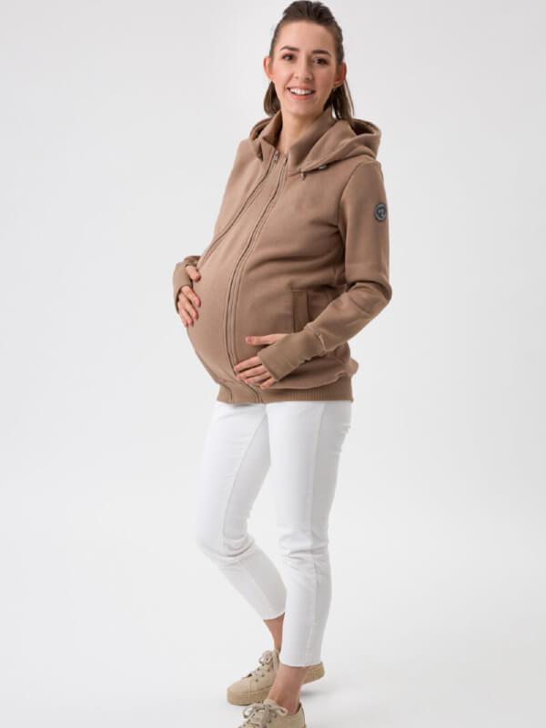 Hanorac 4în1 pentru sarcină şi Babywearing Pola Latte
