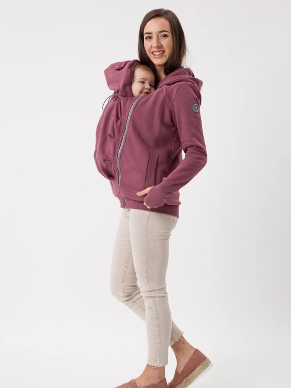 Hanorac 4în1 pentru sarcină şi Babywearing Pola Rose Brown