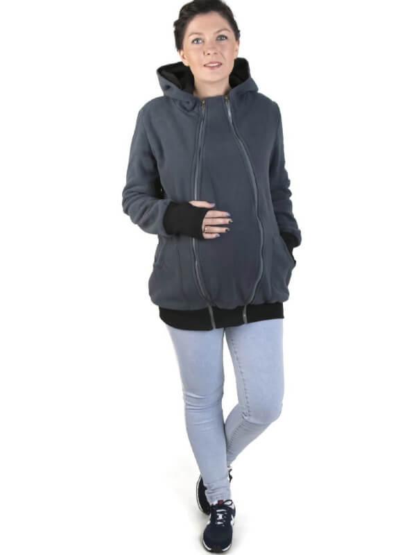 Hanorac sarcină şi babywearing 3în1 New Luna Graphite Black