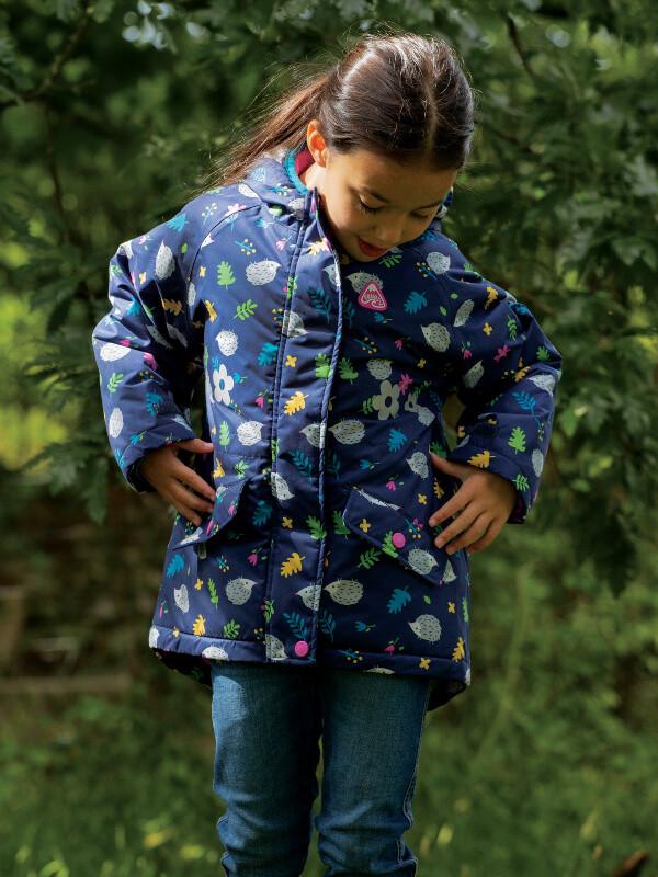 Jachetă impermeabilă fete Explorer Hedgehogs