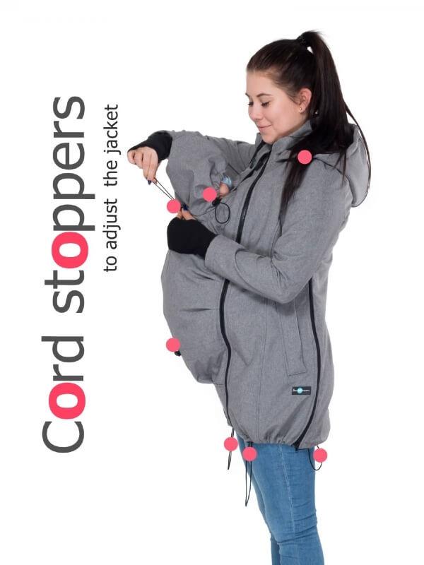 Jachetă pentru sarcină şi babywearing 3în1, din softshell