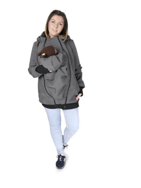 Jachetă pentru sarcină şi babywearing 3în1, din softshell, Graphite