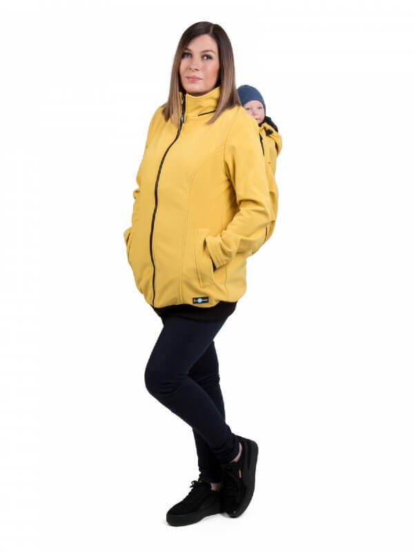 Jachetă sarcină/babywearing 5 în 1 Softshell Mustard