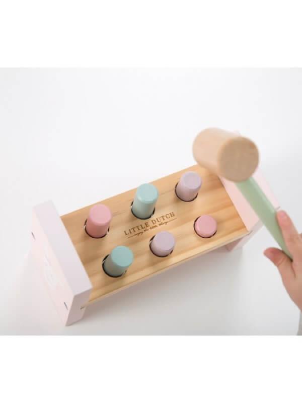 Jucărie din lemn cu cilindri şi ciocan Roz