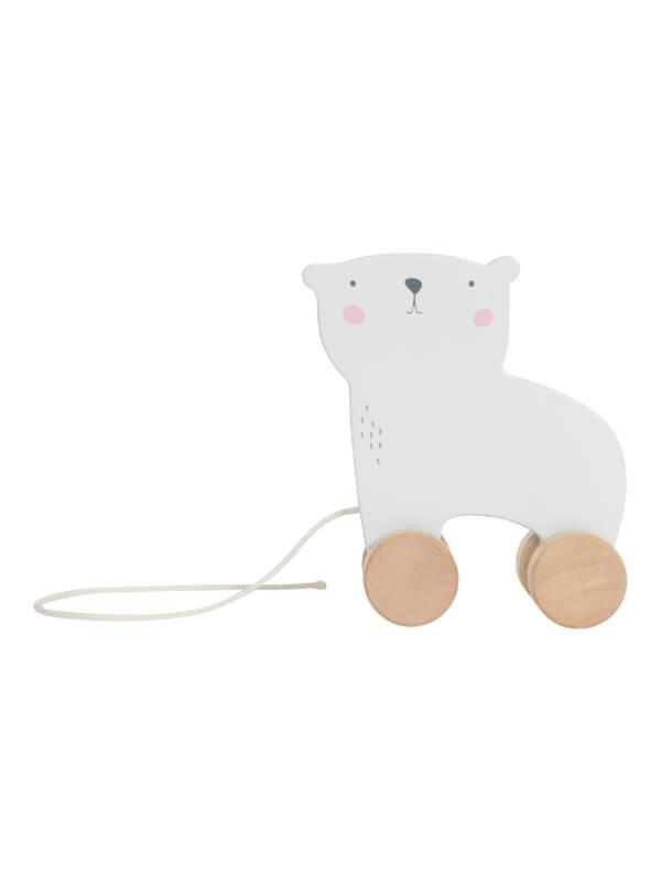 Jucărie din lemn cu roţi Ursul Polar