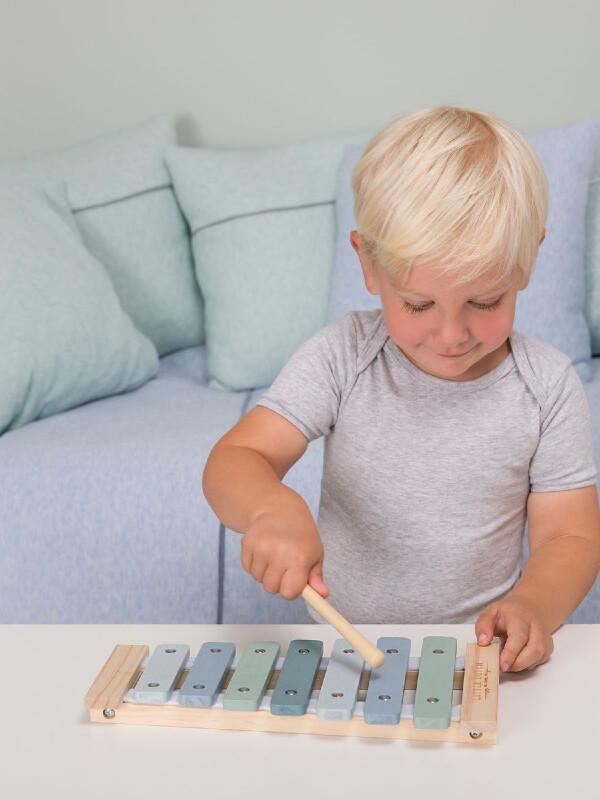 Jucărie xilofon lemn albastru