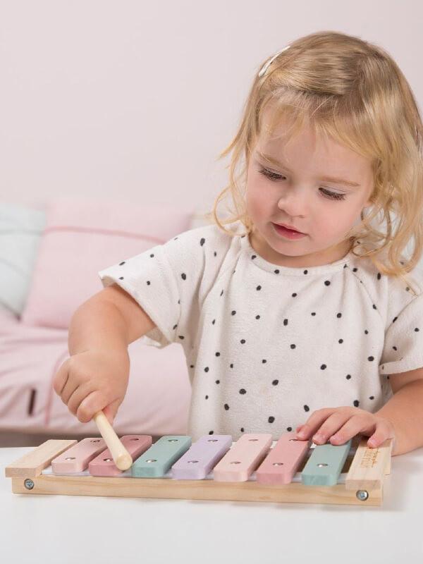 Jucărie xilofon lemn roz