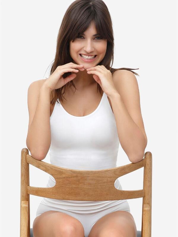 Maiou sarcină şi alăptare cu sutien integrat alb Betty, bambus organic