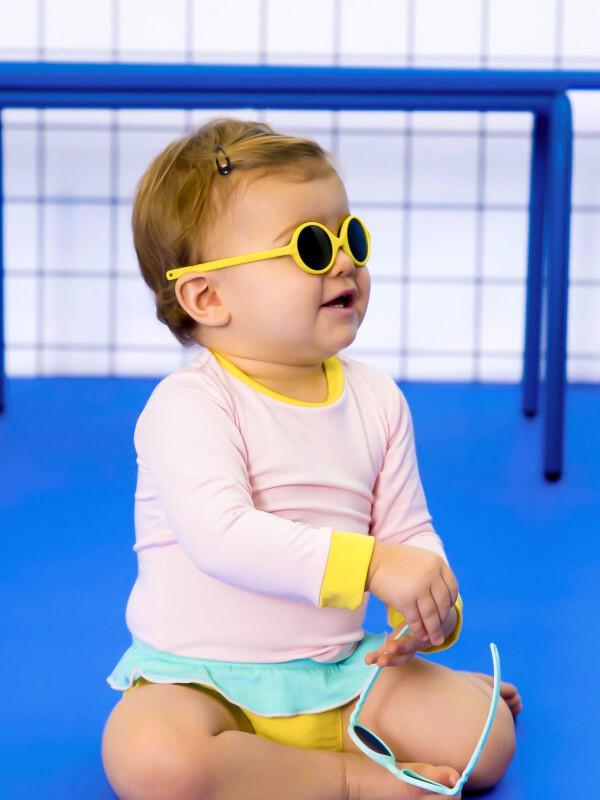 Ochelari soare bebe Diabola Yellow, 0-12 luni