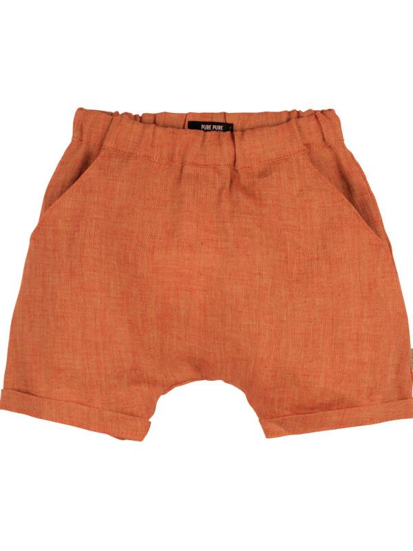 Pantaloni scurţi din in, cu buzunare Dusty Orange