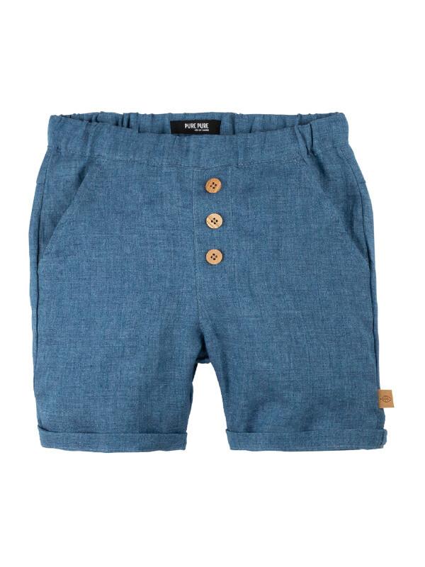 Pantaloni scurţi din in Storm Blue