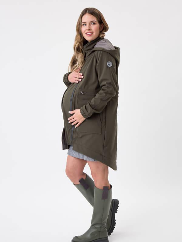 Parka softshell pentru sarcină şi babywearing Khaki