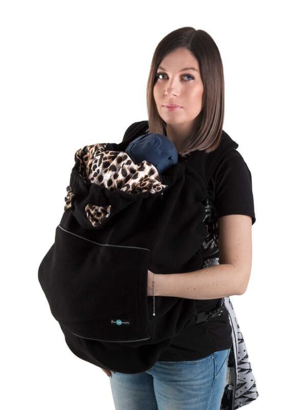 Protecţie babywearing din fleece Black, animal print