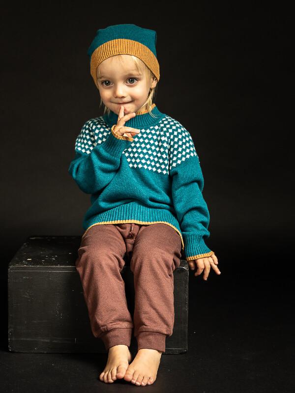 Pulover tricotat băieţi Amaru Petrol