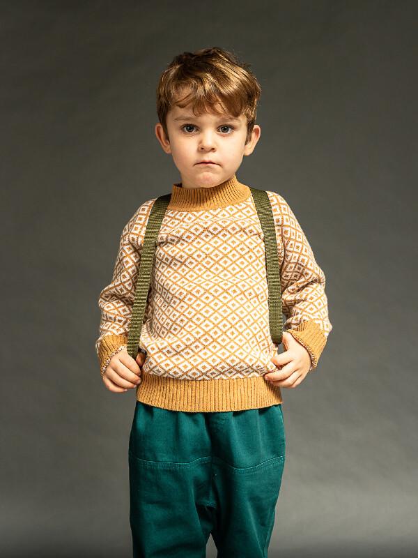 Pulover tricotat băieţi Kuruk Caramel