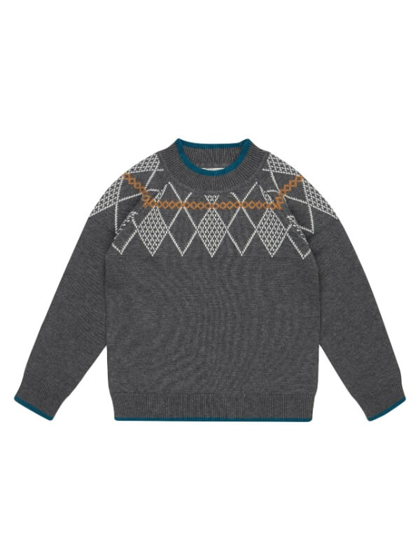Pulover tricotat băieţi Lenno Grey