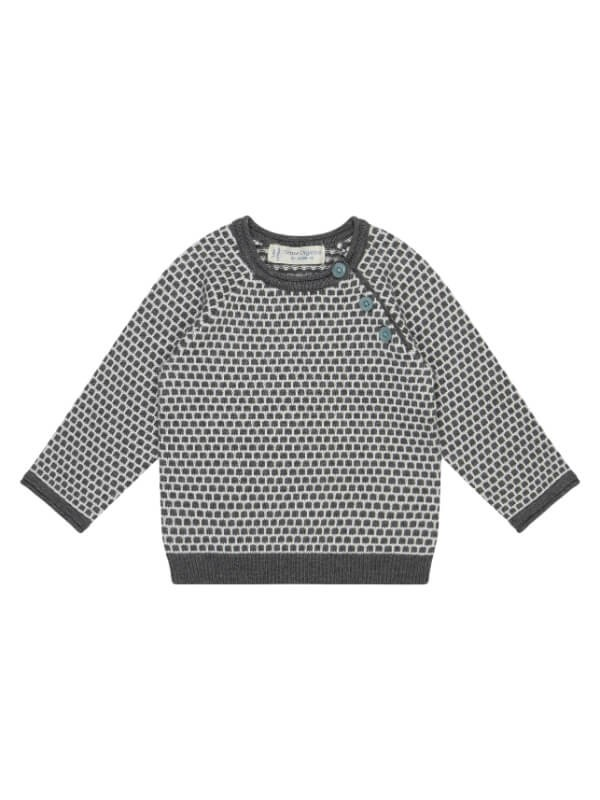 Pulover tricotat bebe Victor Grey Ivory