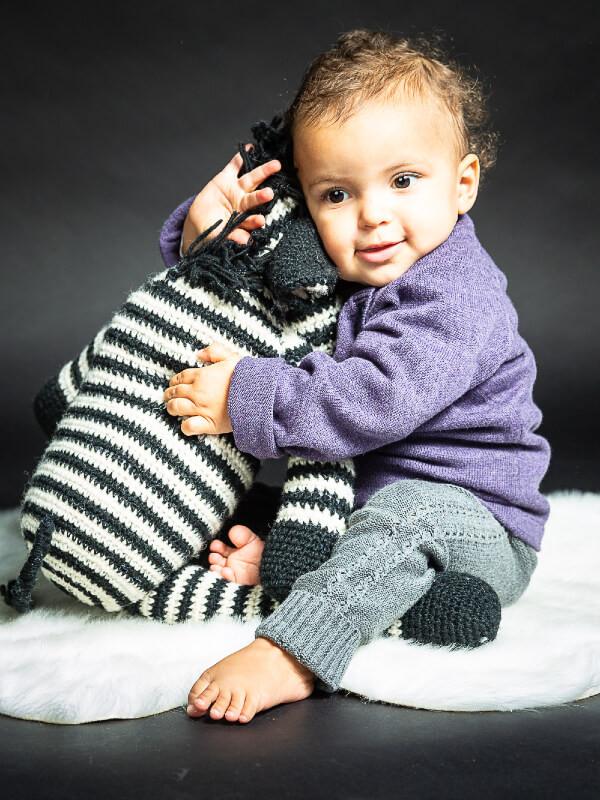 Pulover tricotat bebe Victor mov