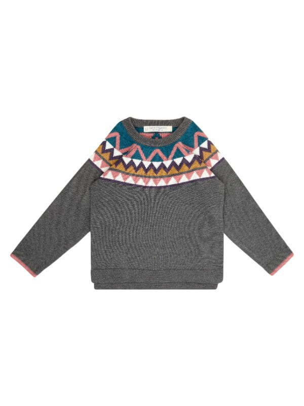 Pulover tricotat fete Amaya Dark Grey