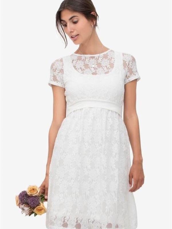 Rochie alăptare Zissi, dantelă albă
