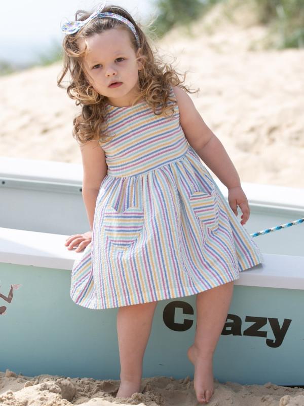 Rochie cu dungi multicolore pentru bebeluşe