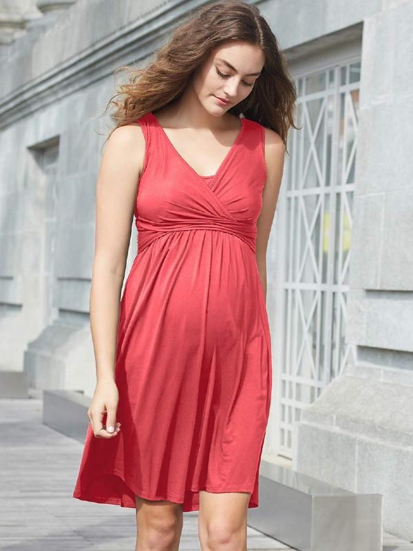 Rochie fără mâneci, pentru sarcină şi alăptare Peach