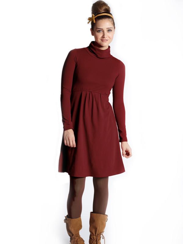 Rochie pentru alăptare, cu mânecă lungă, roşie
