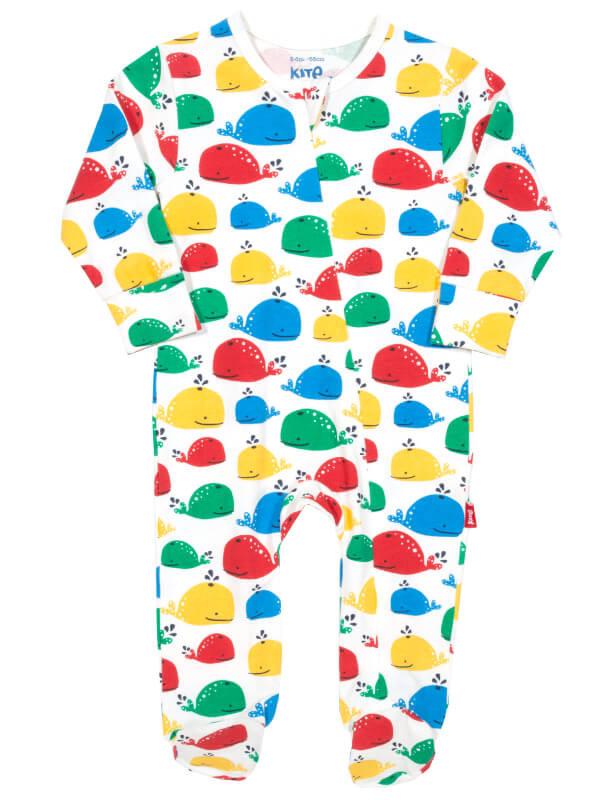 Salopetă pijama bebe Rainbow Whale