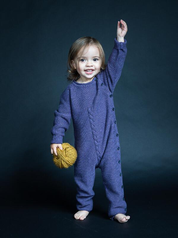 Salopetă tricotată bebe Yaci mov