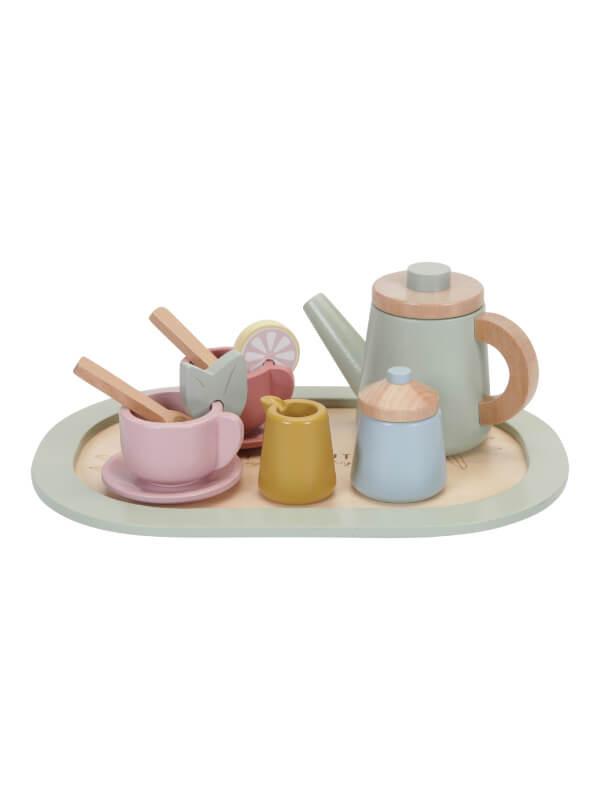 Set din lemn pentru ceai multicolor