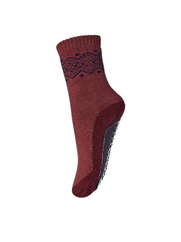 Şosete papuci Bobbie Dark Brick, lână